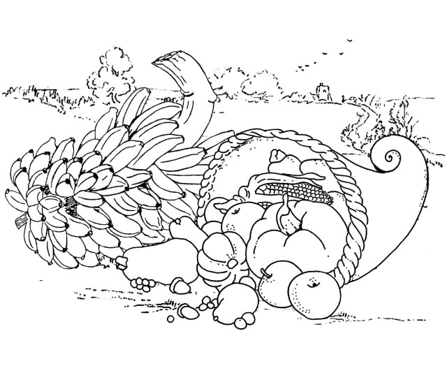Thanksgiving meal - Thanksgiving Adult Coloring Pages