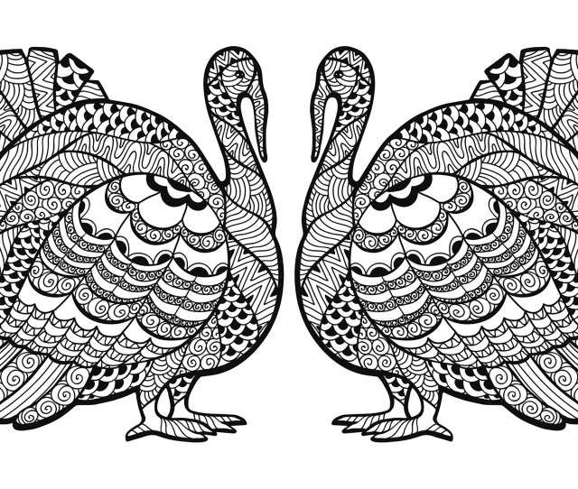 Coloring Page Double Turkey Zentangle Coloring Sheet A Double Zentangled Turkey To Color For The Thanksgiving Day