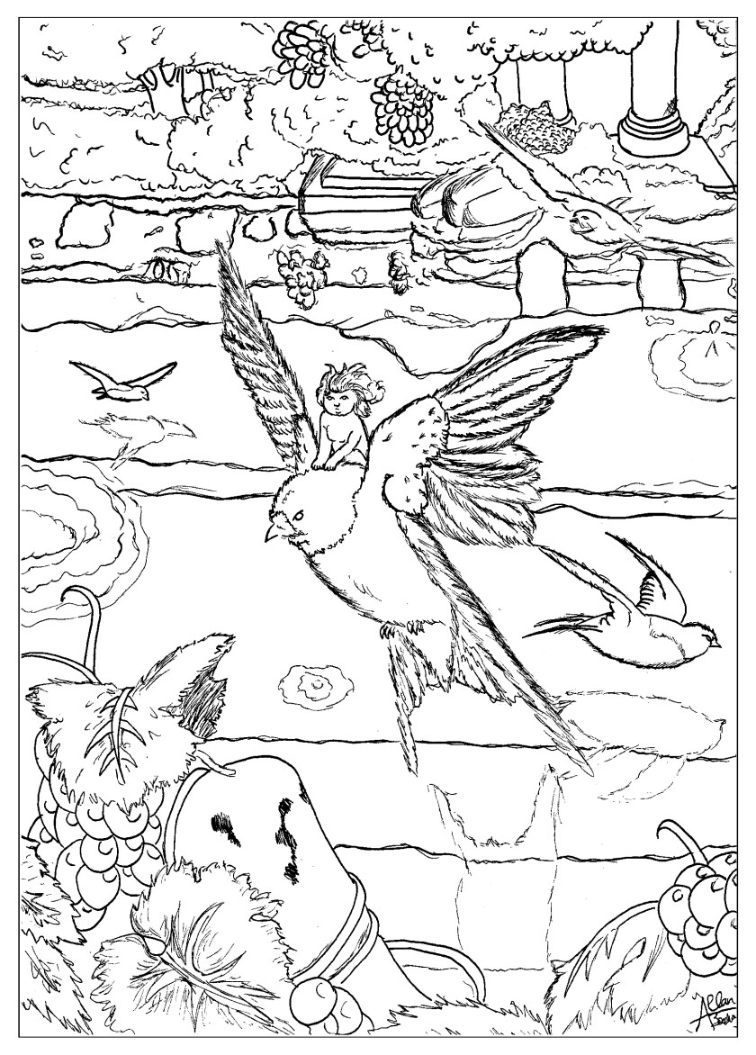 thumbelina  fairy tales adult coloring pages