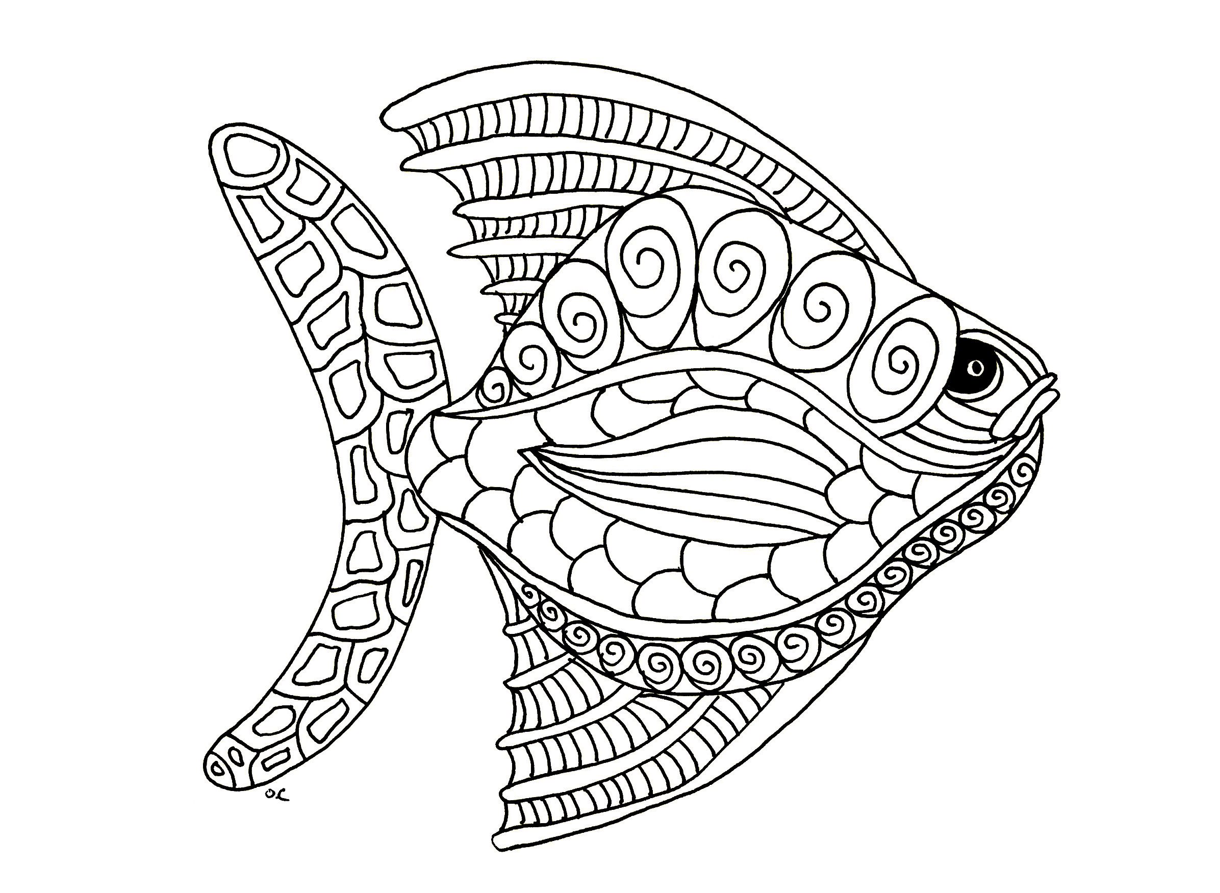 Fish Zentangle Step 1