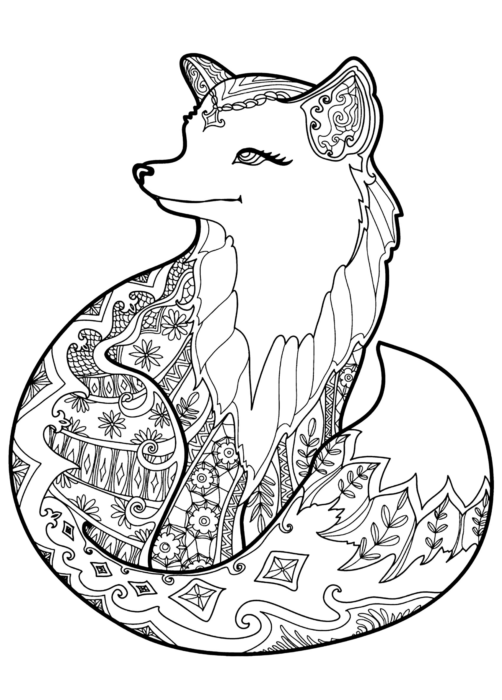 Fox With Beautiful Patterns Foxes Adult Coloring Pages