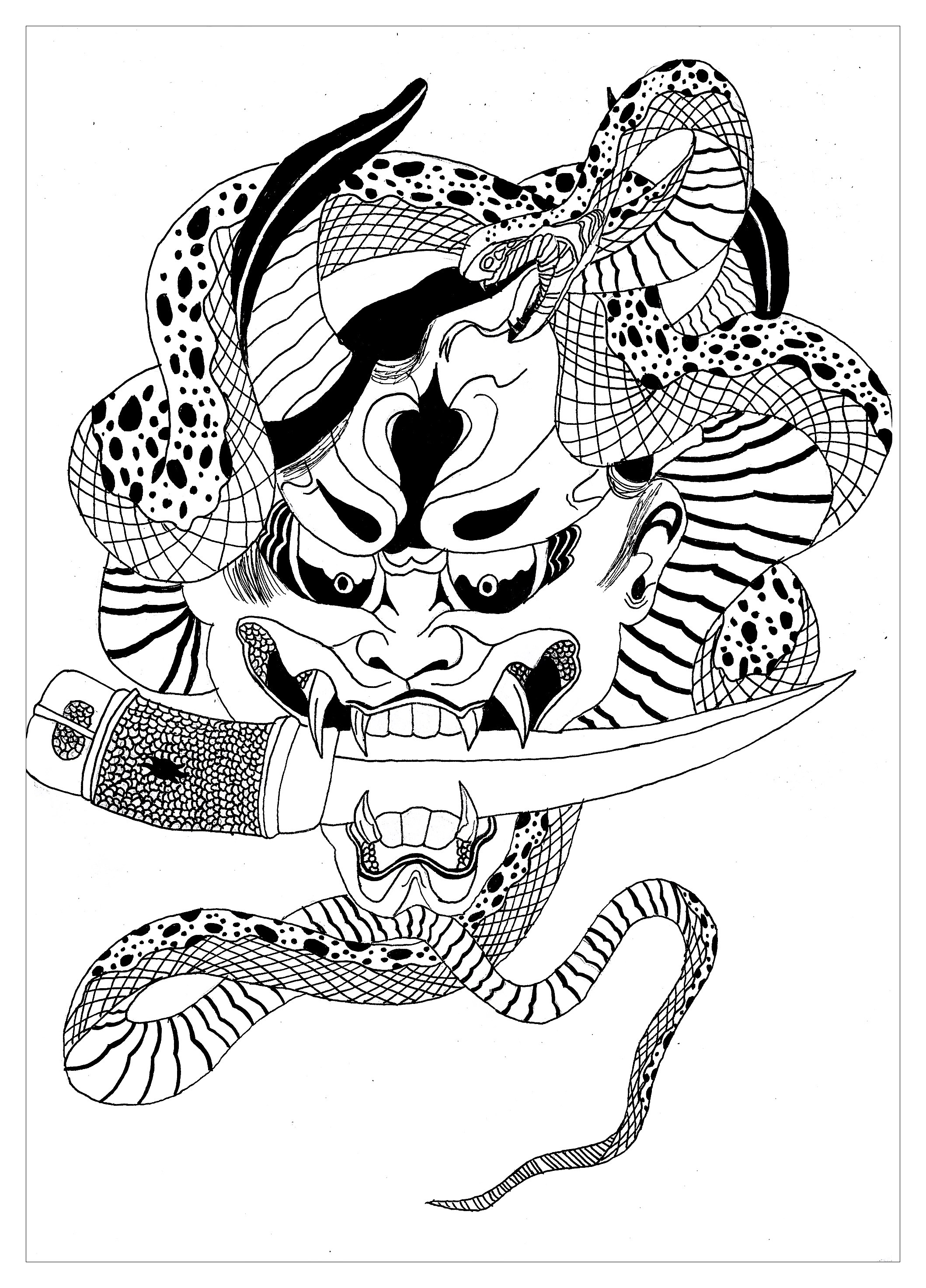 Demon Hannya Japanese Krissy Japan Coloring Pages For Adults