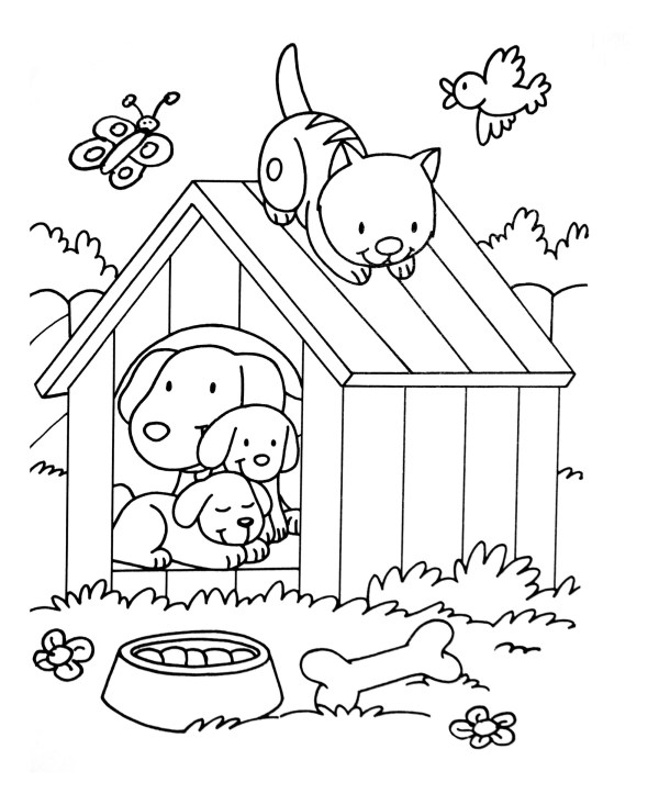 cat and dog coloring pages # 5