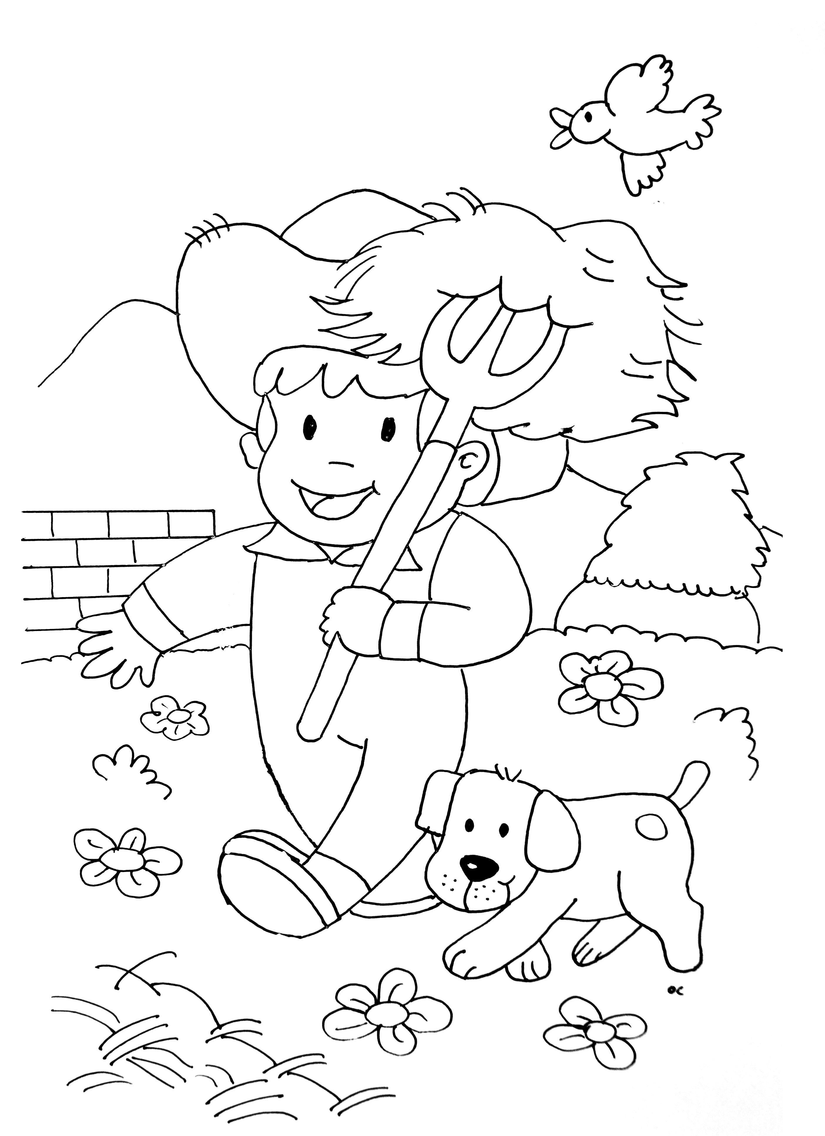 Farmer Kid With His Dog