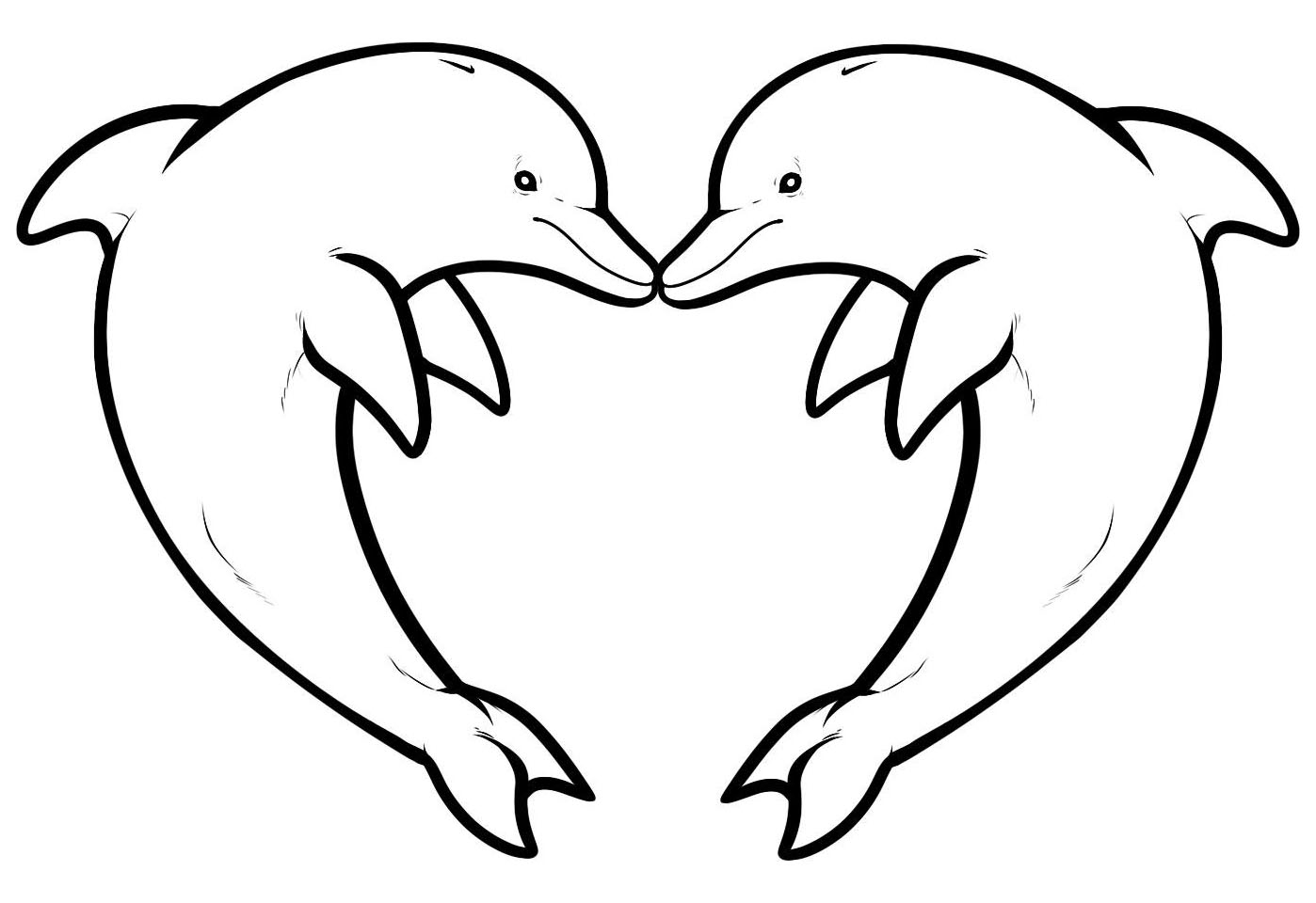 Two Dolphins Forming A Heart Animals Coloring Pages For Adults