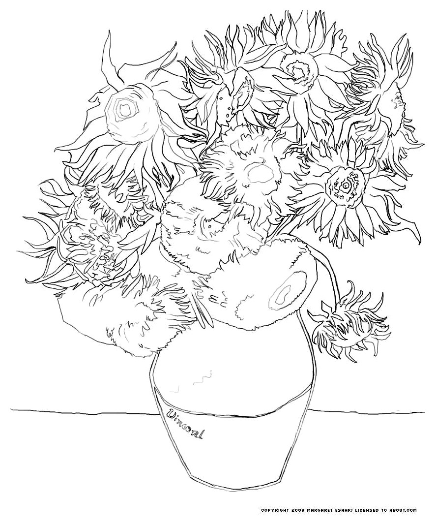 Van Gogh Sunflowers Art Coloring Pages For Kids To Print