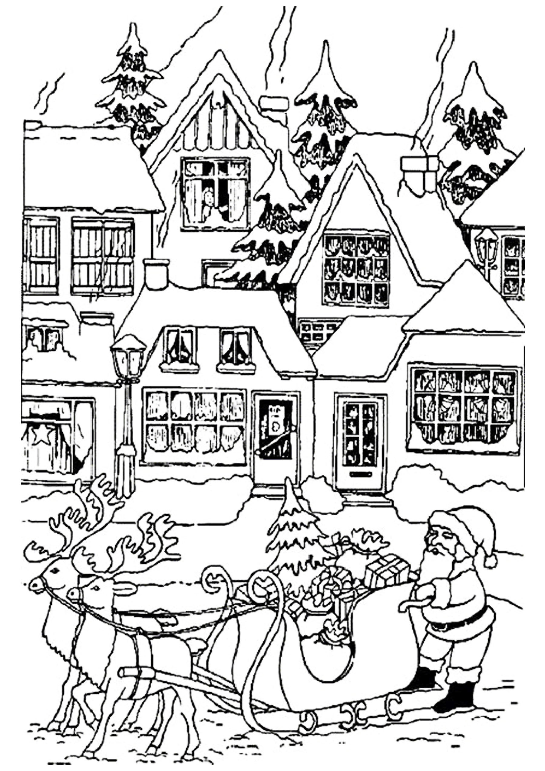 Christmas Houses With Santa Claus Christmas Coloring Pages For