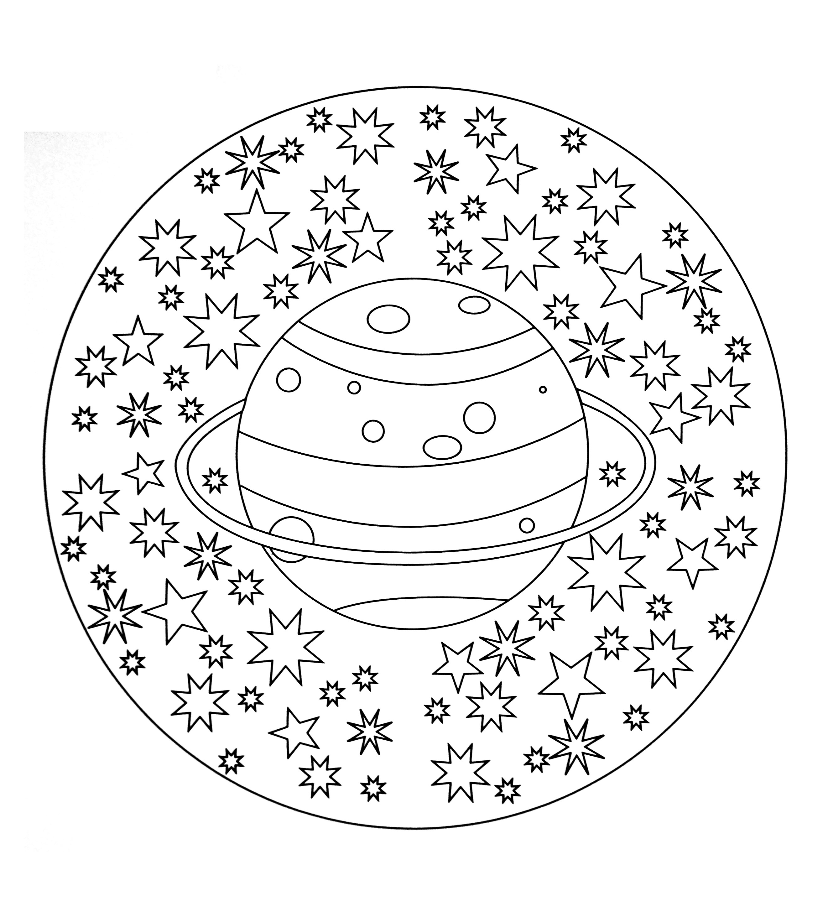 Simple mandala 19  Malas Coloring pages for kids to print  color