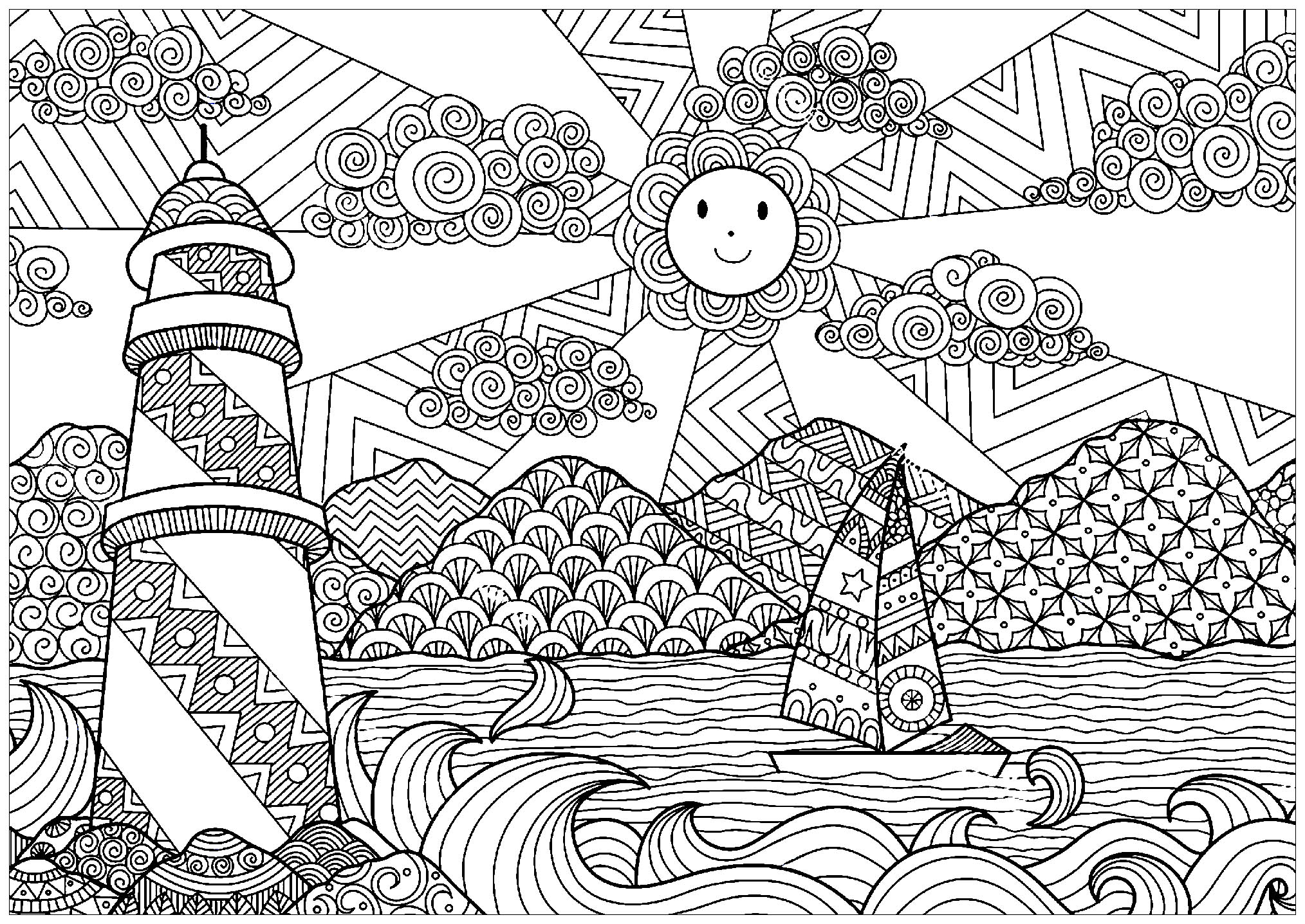 Seascape With Lighhouse And Sun Landscapes Coloring Pages For