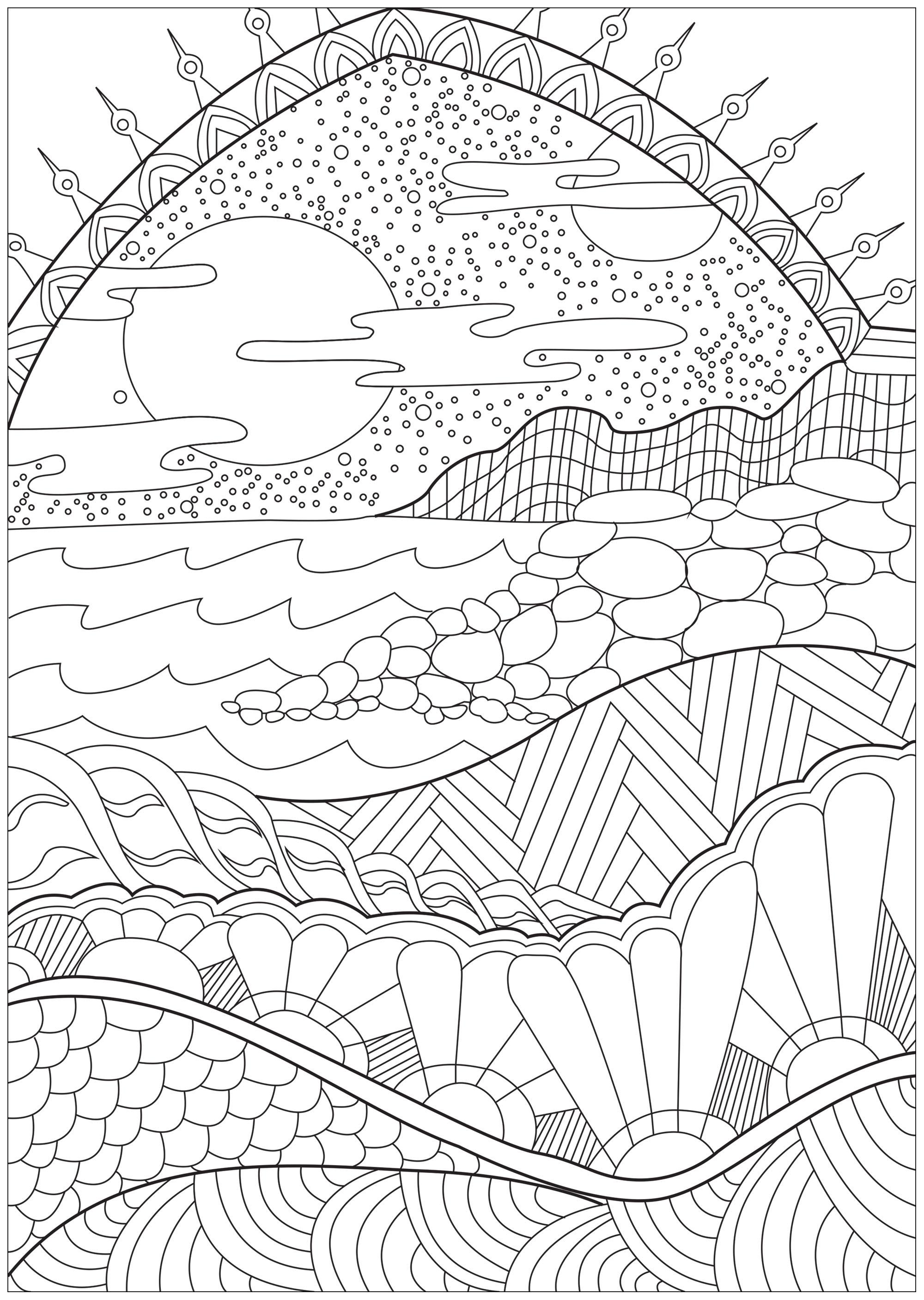 Ocean Landscape Coloring Coloring Pages