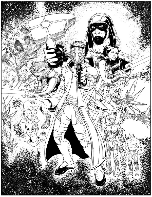 Adult Coloring Pages of the Galaxy Guardians
