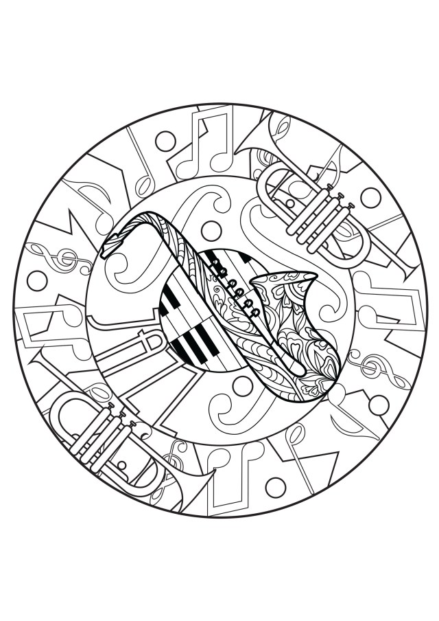 Piano - Coloring Pages for Adults