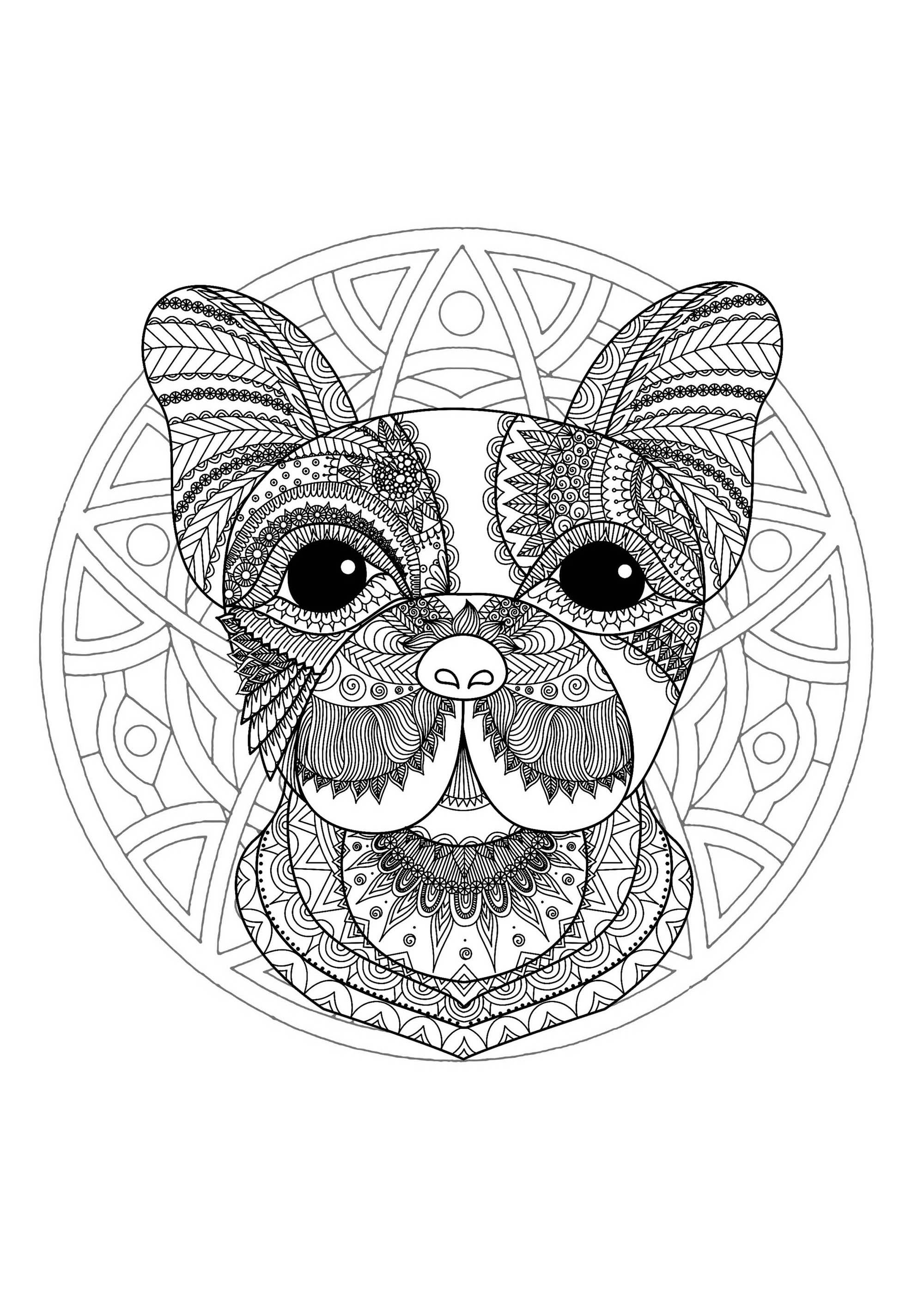 Mandala With Funny Dog Head And Elegant Patterns