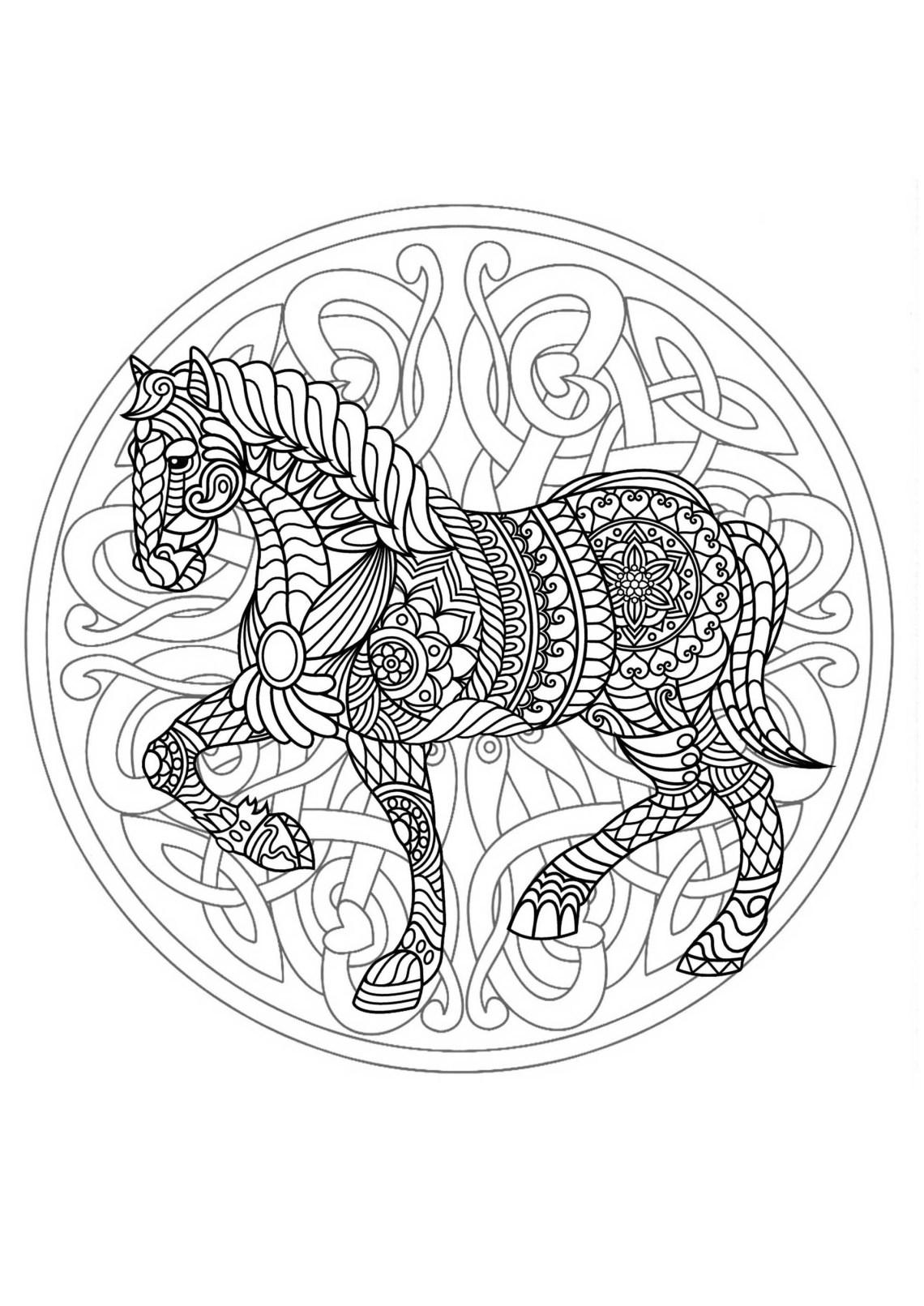 Mandala with beautiful Horse and interlaced patterns - M ... | mandala art coloring pages animals