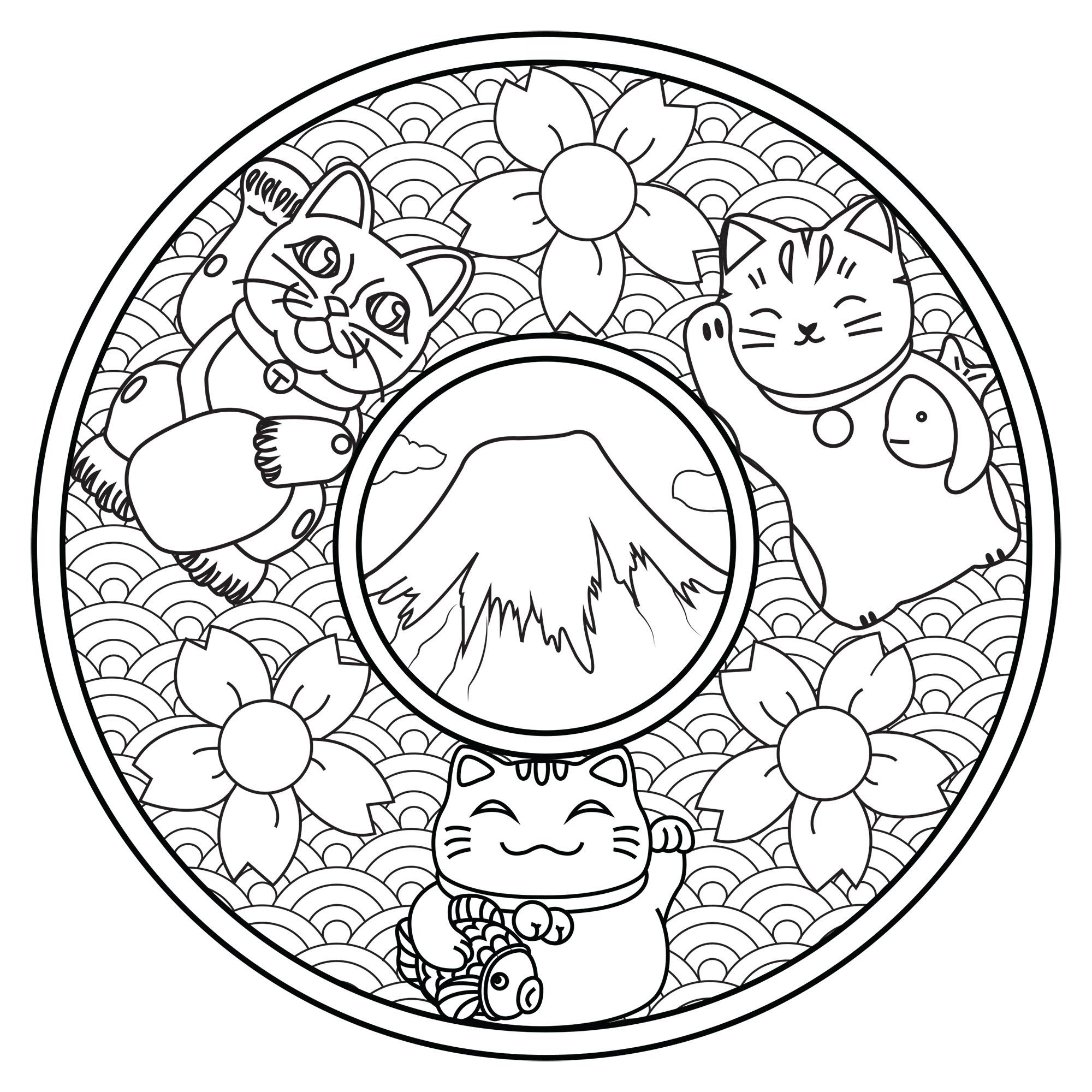 Mandala With Three Maneki Neko