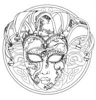 Mandala venice carnival mask   M&alas Adult Coloring Pages
