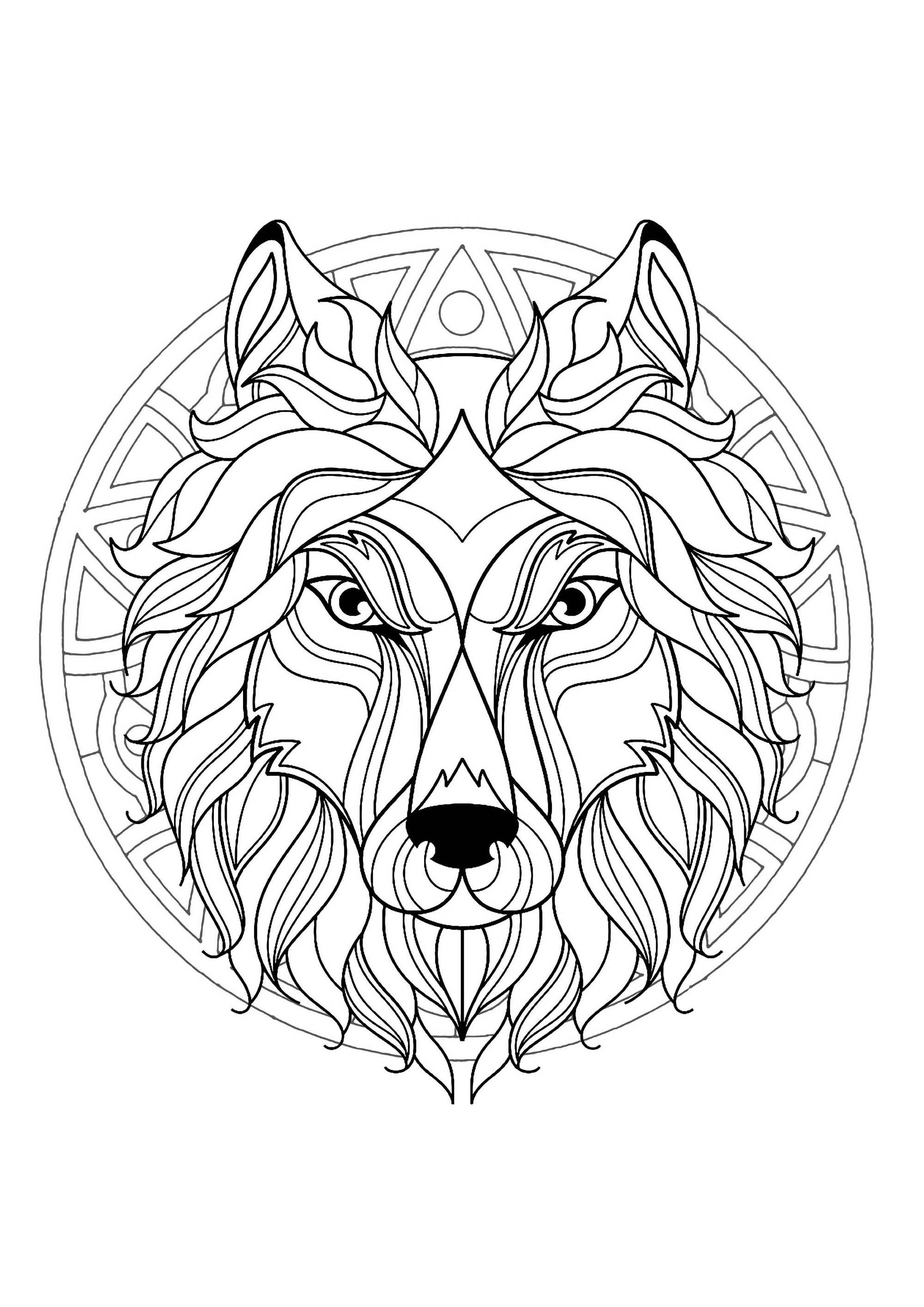 Mandala With Beautiful Wolf Head And Superb Geometric