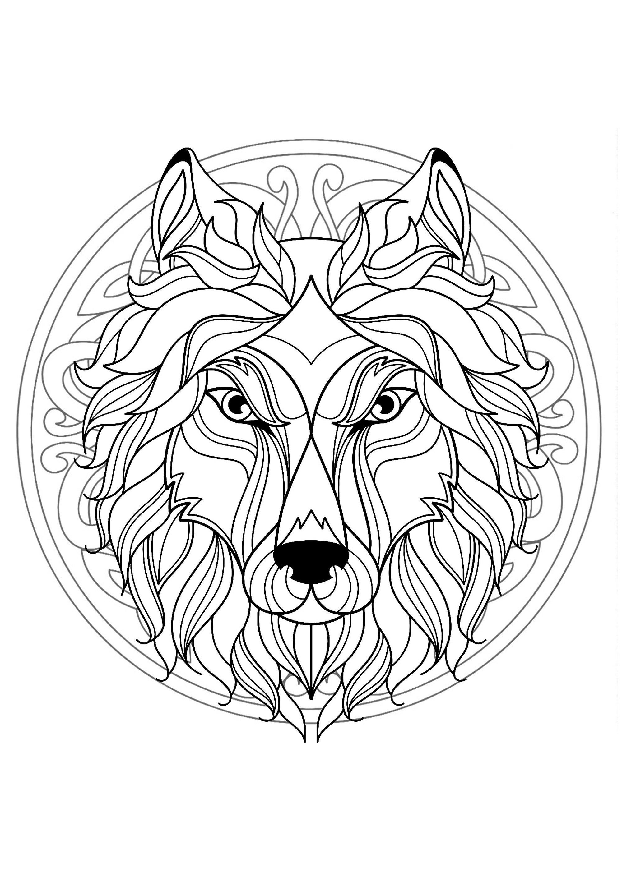 Mandala With Beautiful Wolf Head And Interlaced Patterns
