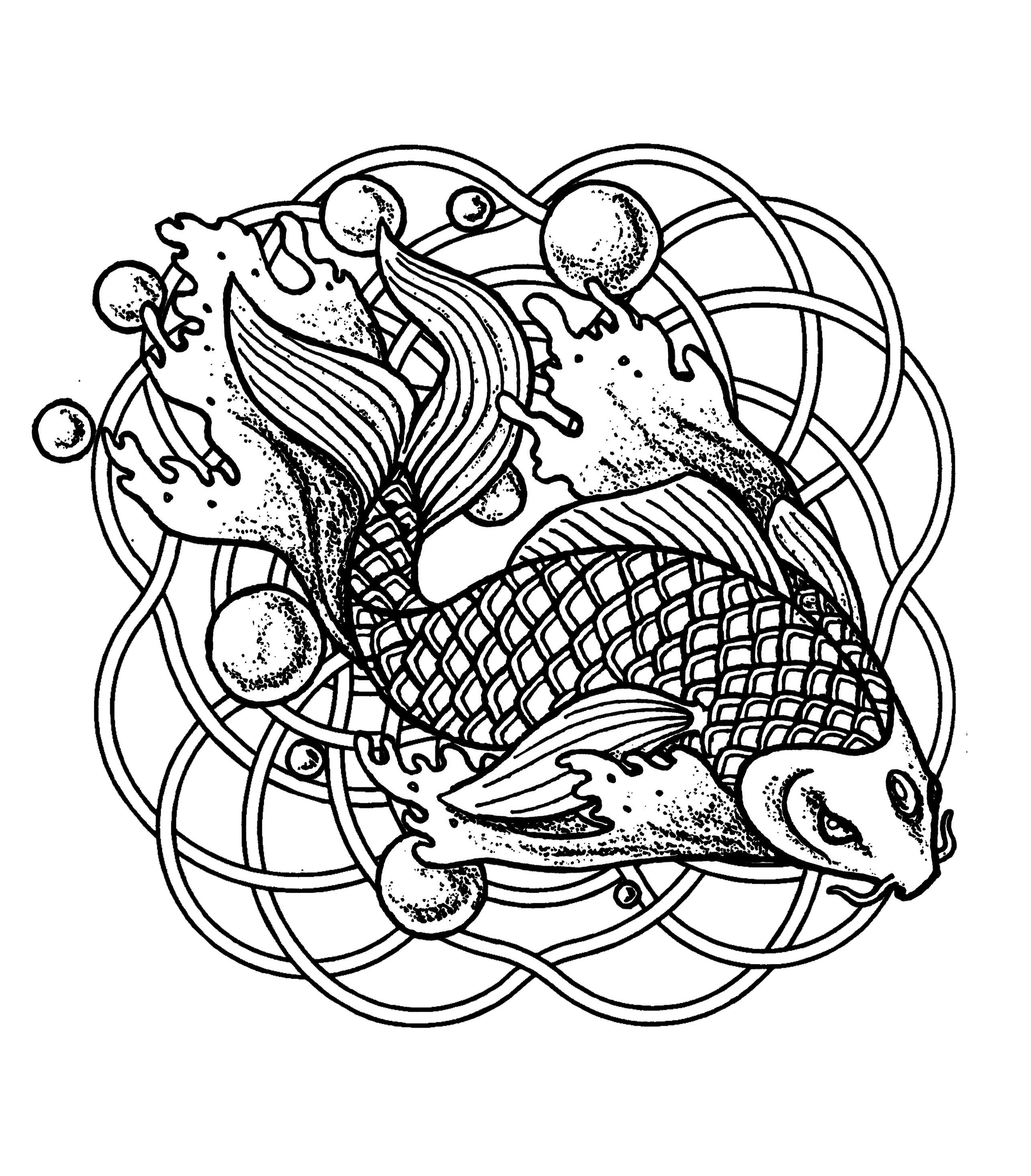 Mandala Fish And Bubles Mandalas Coloring Pages For Adults