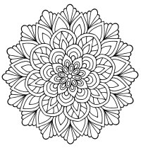 Mandala flower with leaves - M&alas Adult Coloring Pages
