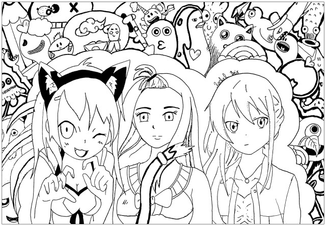 26 manga characters - Manga / Anime Adult Coloring Pages