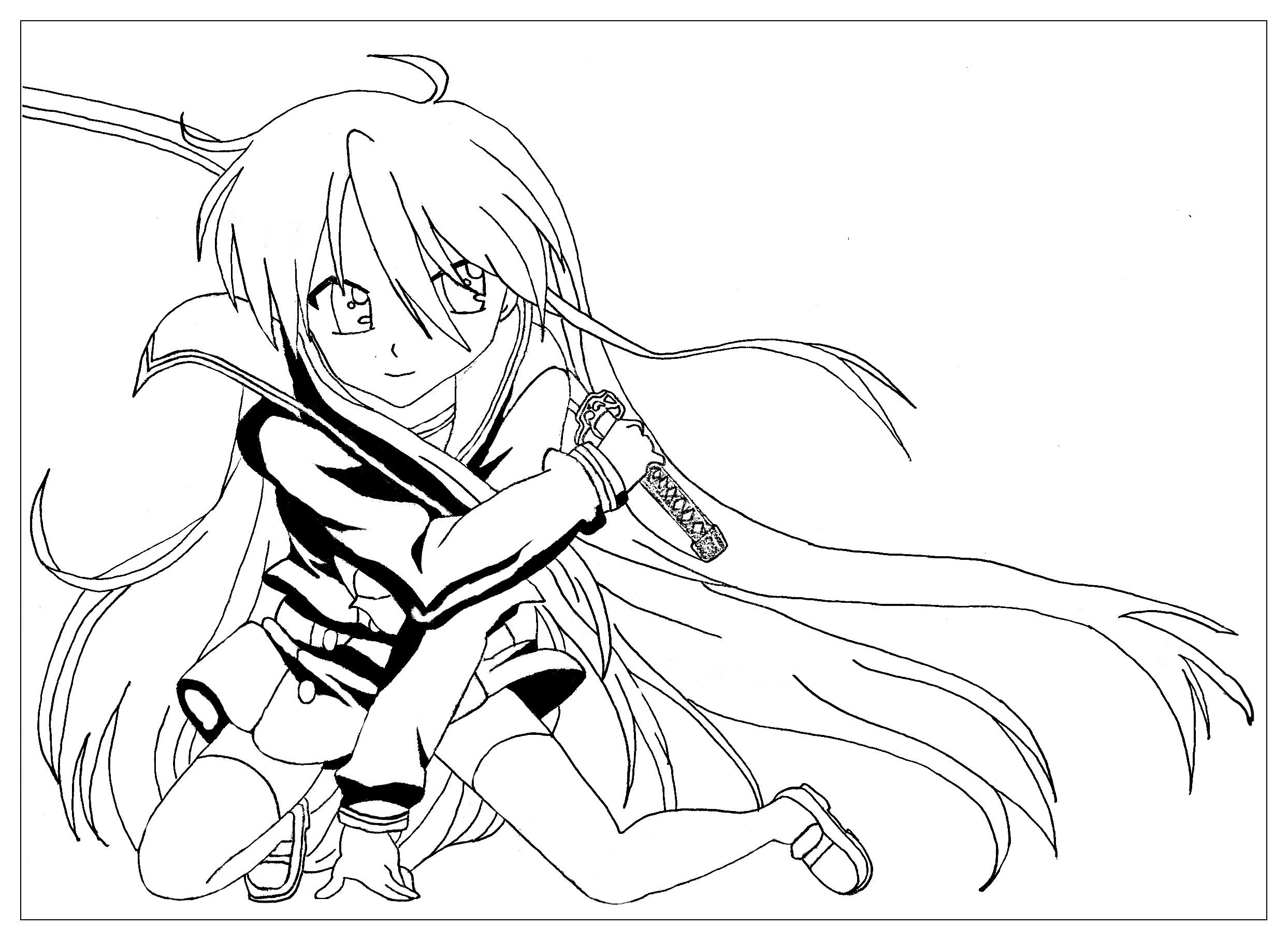 Manga Saber Warrior Girl Manga Anime Adult Coloring Pages