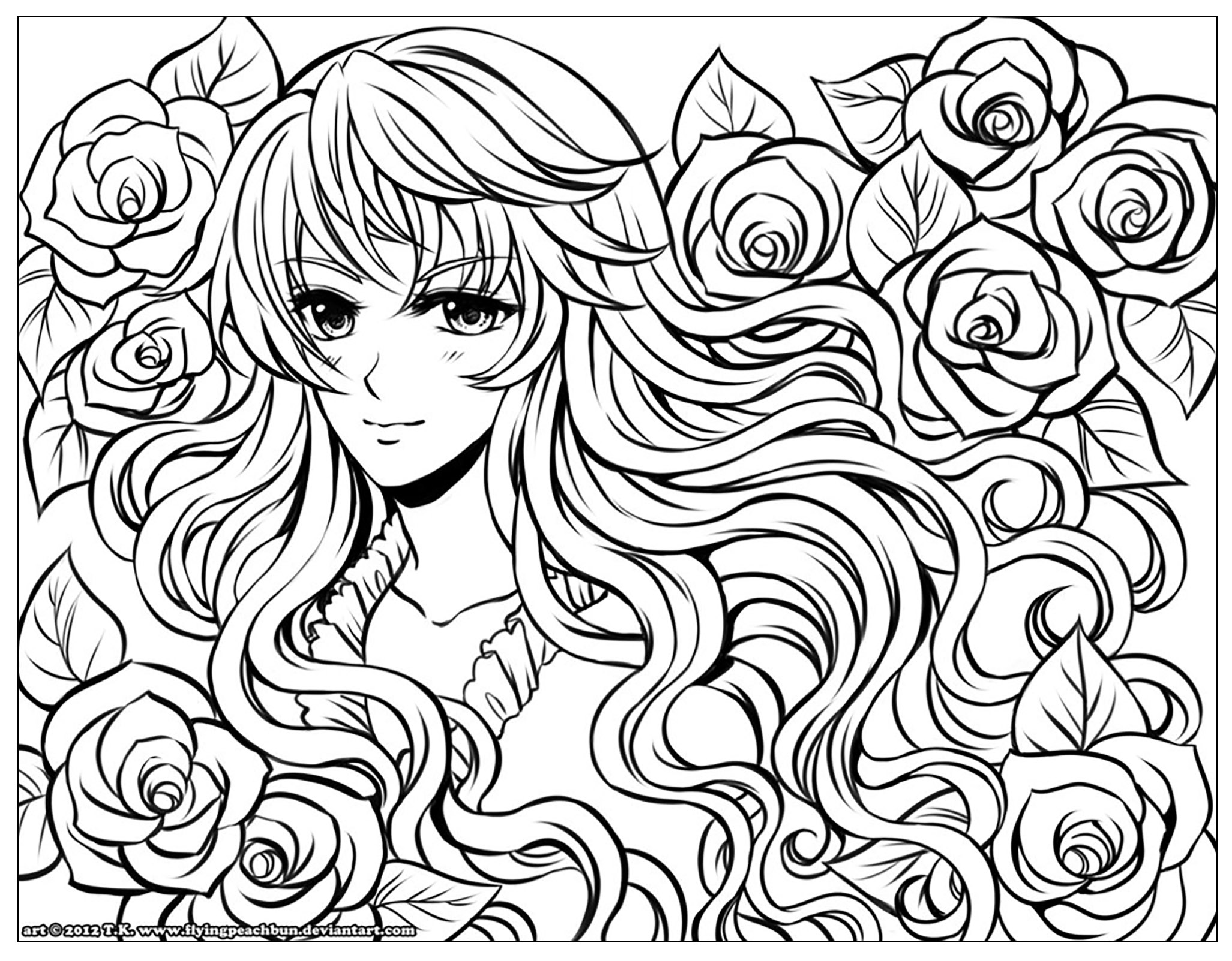 Manga Girl With Flowers Manga Anime Adult Coloring Pages