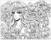 manga girl with flowers