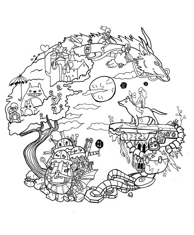 Studio ghibli - Manga / Anime Adult Coloring Pages
