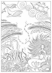 mermaid coloring pages for adults # 34