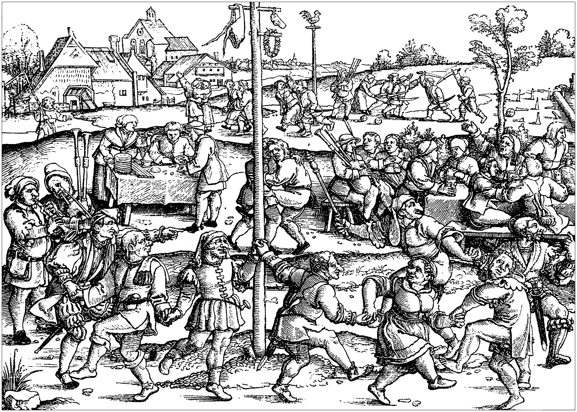 Middle Ages Peasants Celebrating