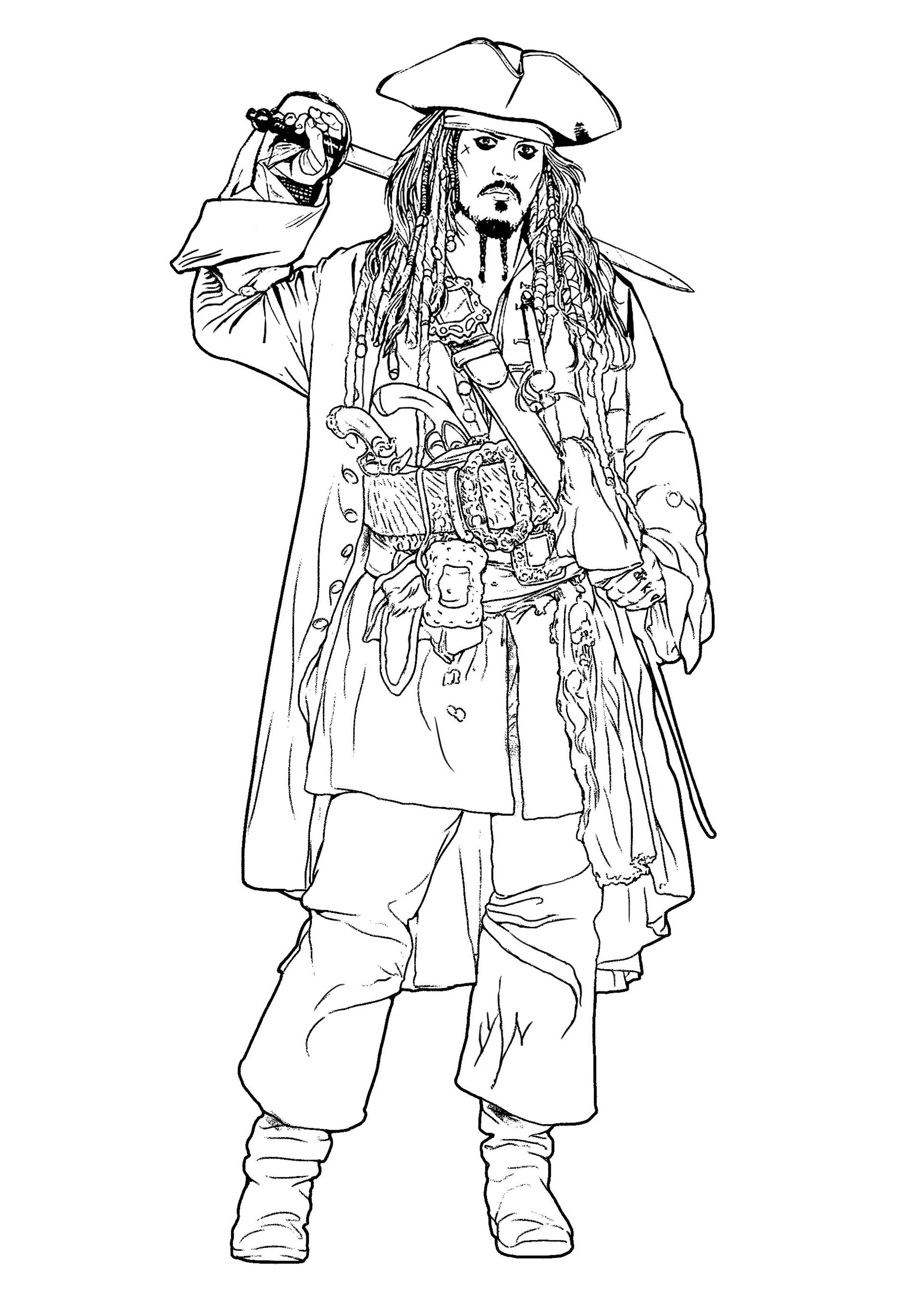 Jack Sparrow Movies Adult Coloring Pages