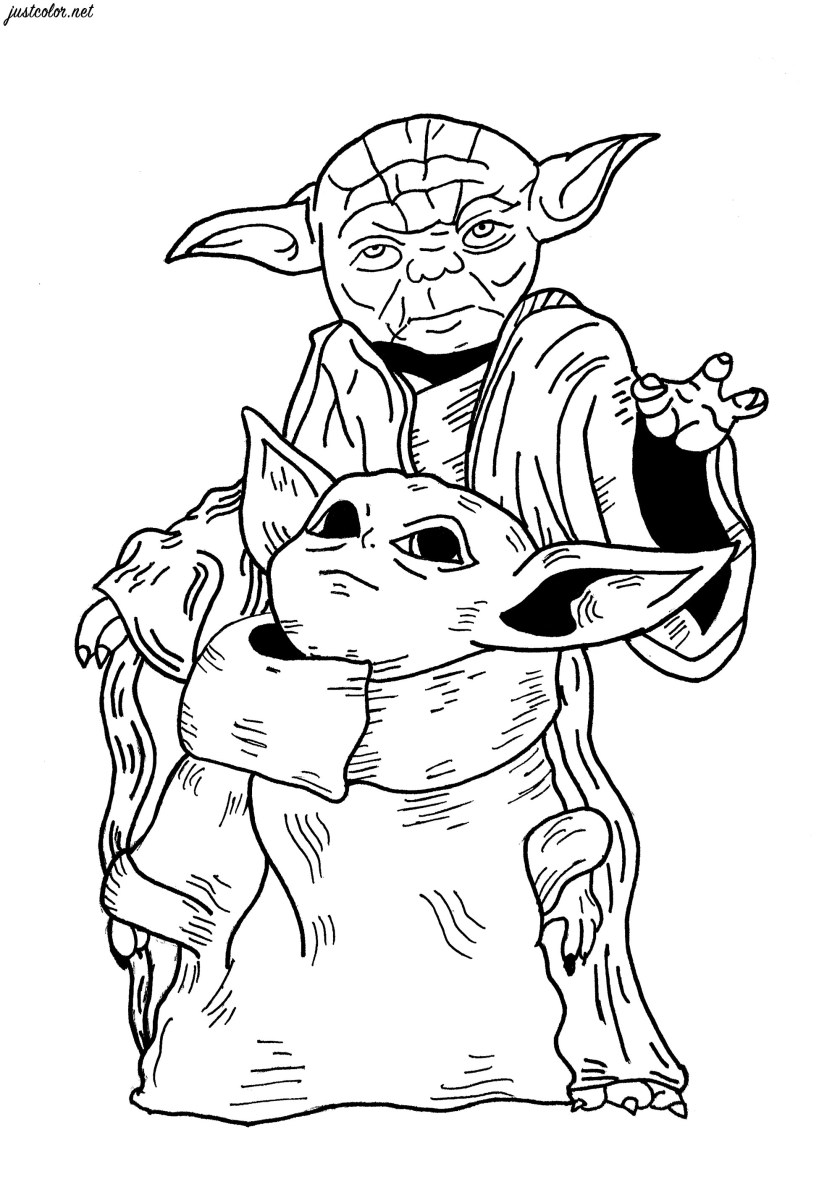 baby yoda & yoda star wars  movies adult coloring pages