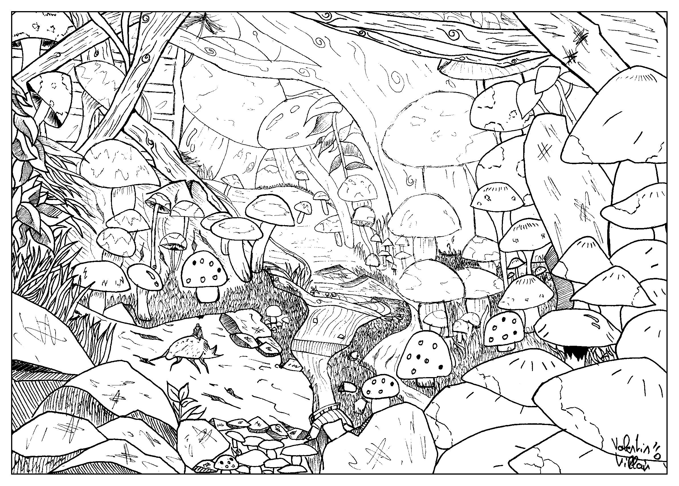 Draw Landscape Feather Mushroom By Valentin Myths Legends