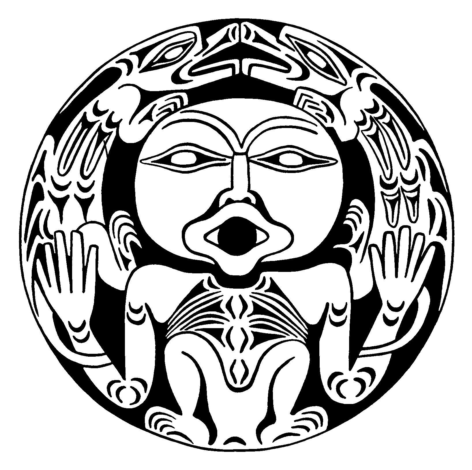 Art northwest coastal people creature in circle mohawk
