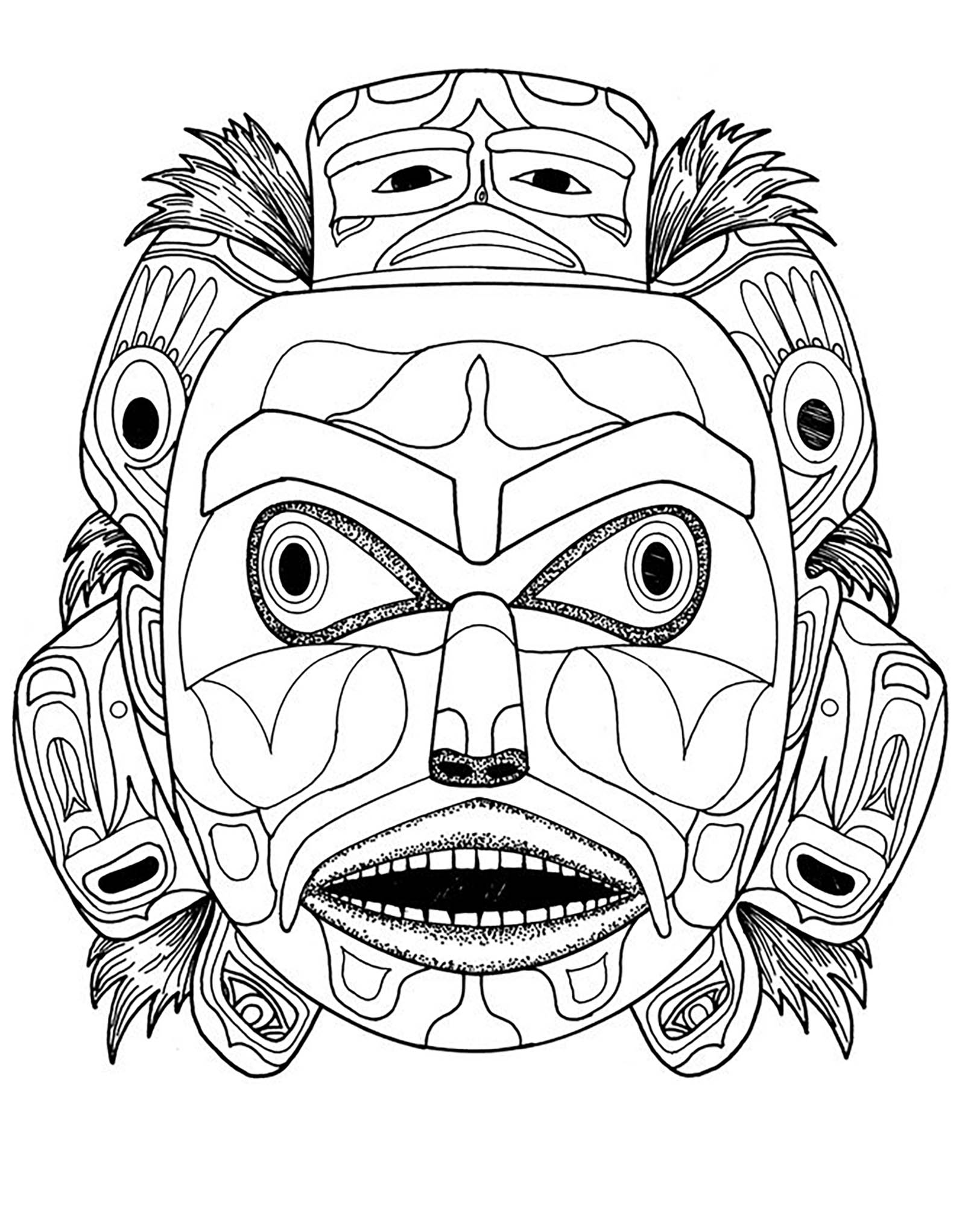 Indian Mask Coloring Pages Sketch Coloring Page