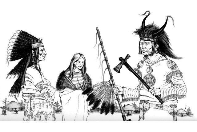 Three indians - Native American Adult Coloring Pages
