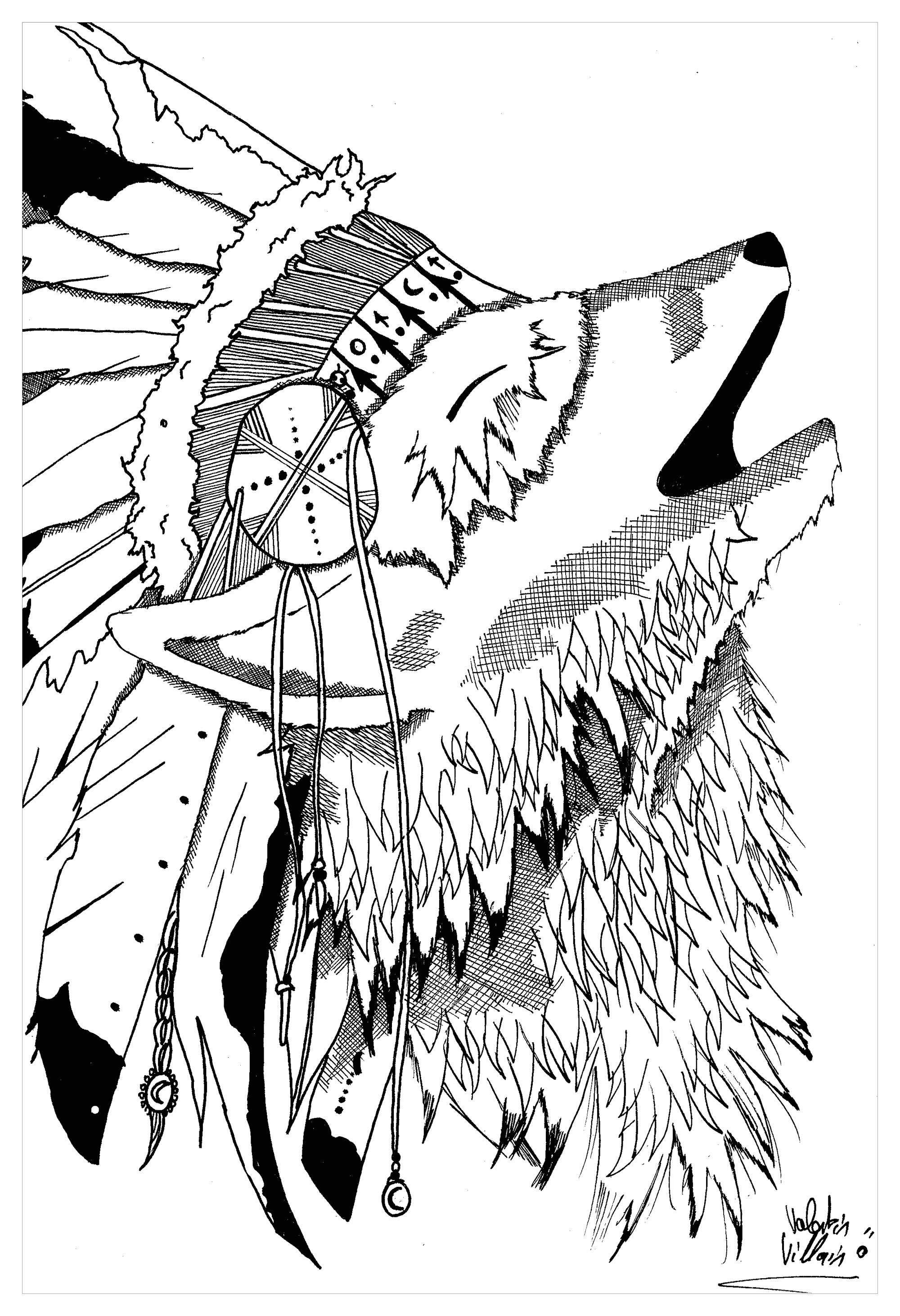 Tattoo Native American Headdress Coloring Coloring Pages