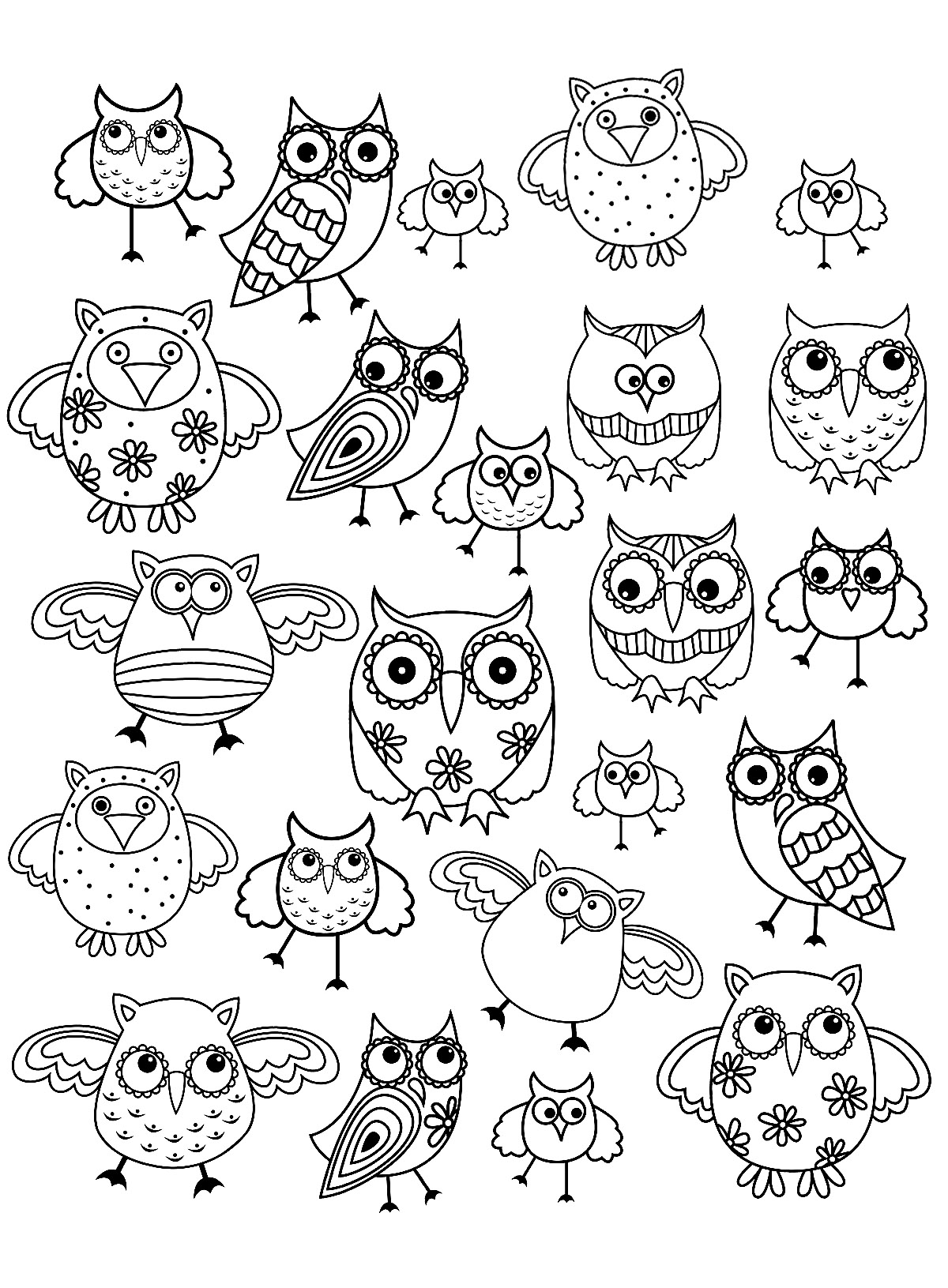 Doodle Owls 1 Owls Adult Coloring Pages