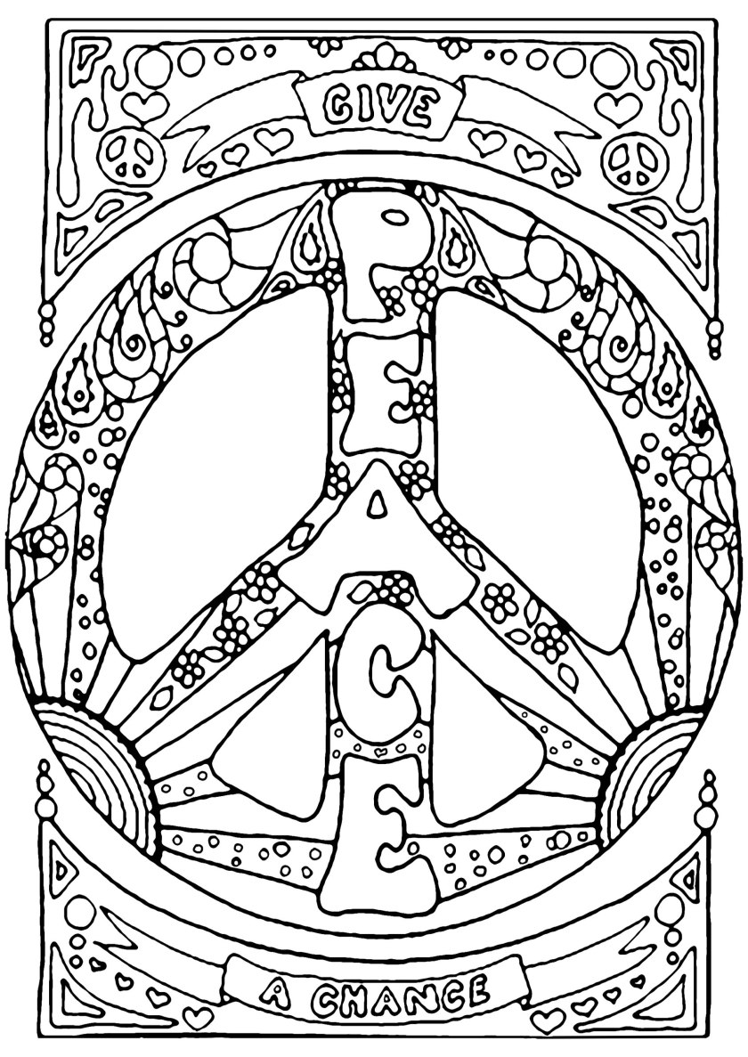 give peace a chance  psychedelic adult coloring pages