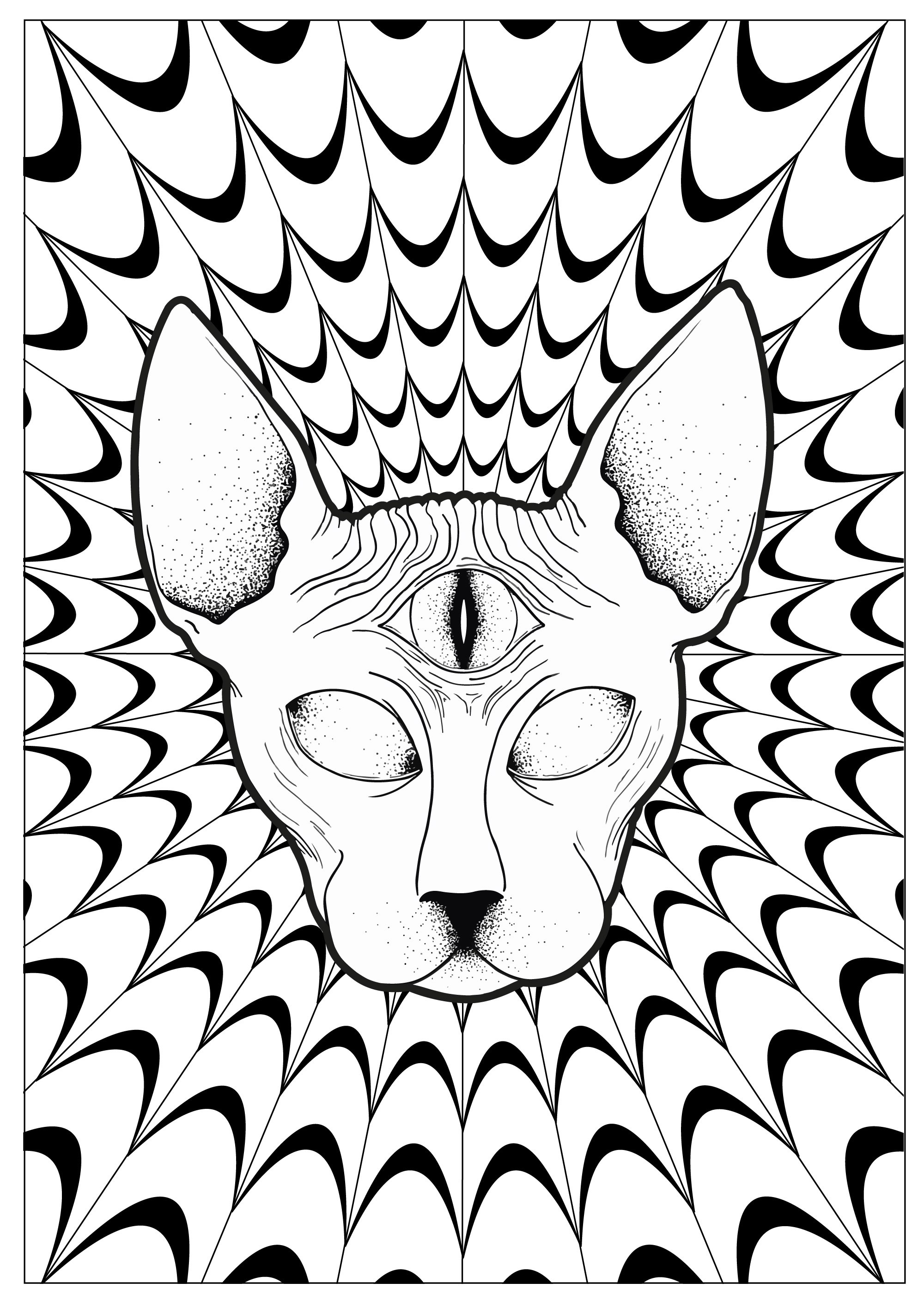Pages Cat Psychedelic Sphynx By Louise Psychedelic Coloring