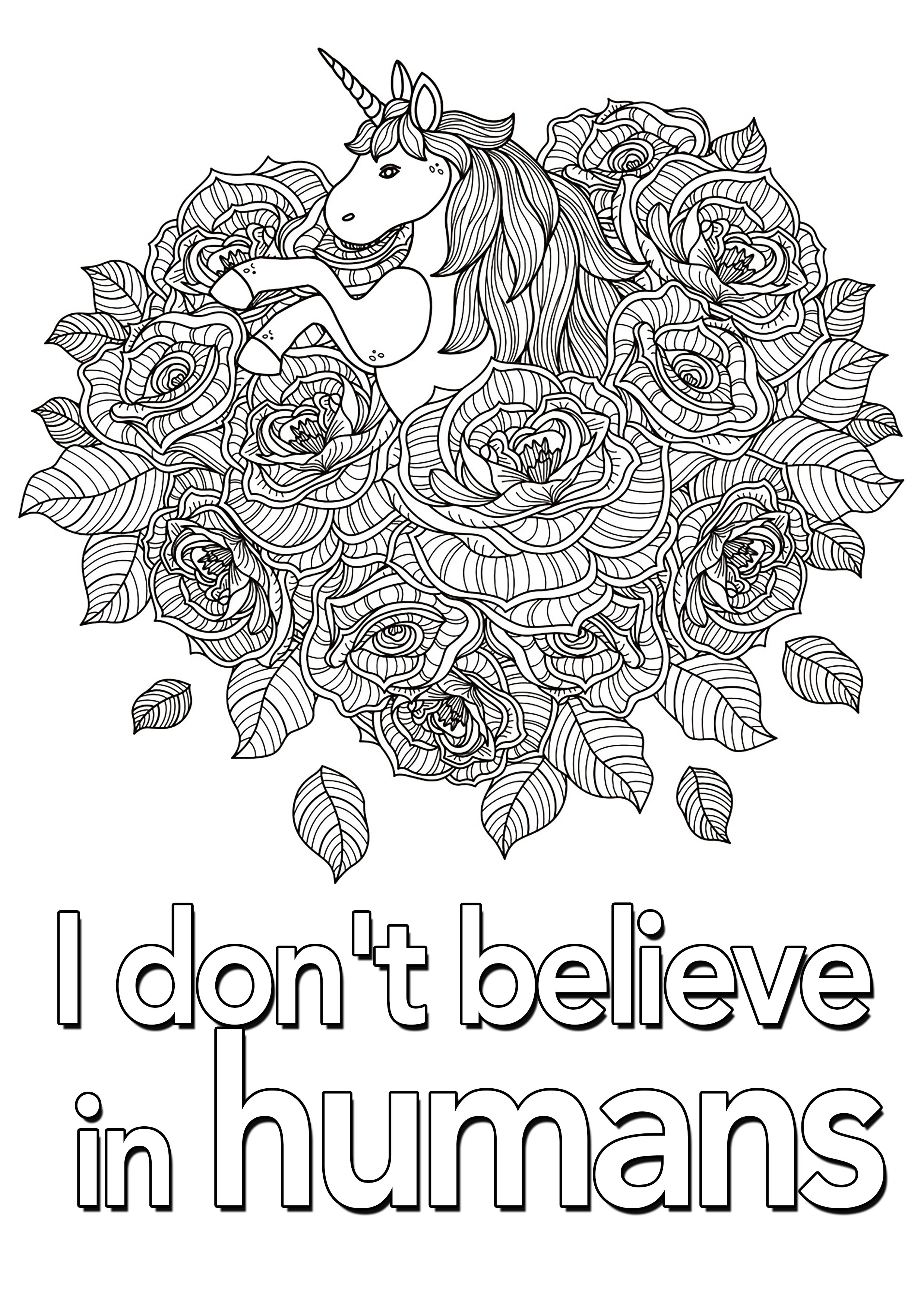 Quote Unicorn I Don T Believe In Humans 2 Quotes Coloring Pages