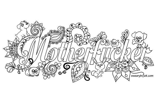 Motherfucker Swear word coloring page - Swear word Adult Coloring