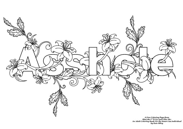 AssholeSwear word coloring page - Swear word Adult Coloring Pages