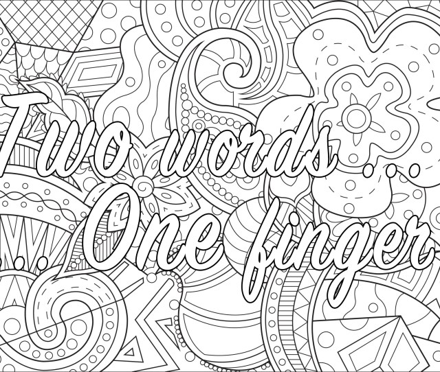 Two Words One Finger Swear Word Coloring Page Swear Word