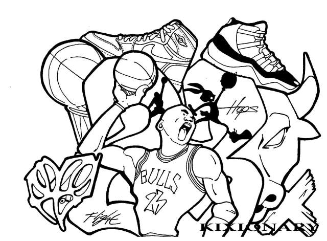 Michael Jordan Street Art - Street Art Adult Coloring Pages