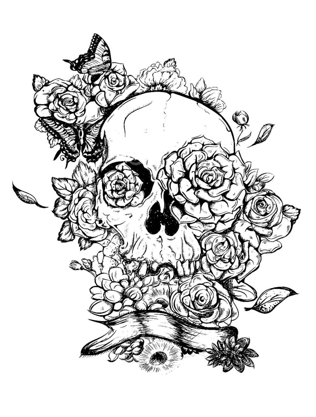 skull and roses tattoo - tattoos adult coloring pages