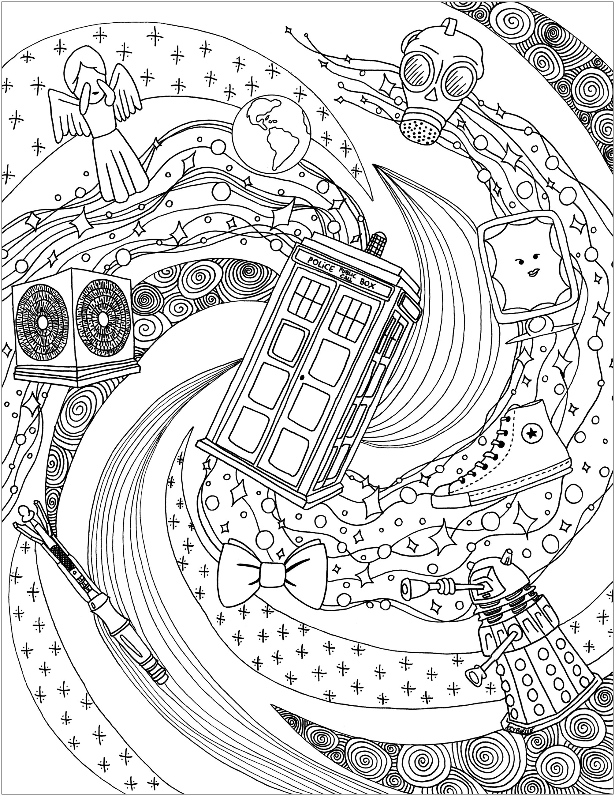 Doctor Whos World TV Shows Adult Coloring Pages