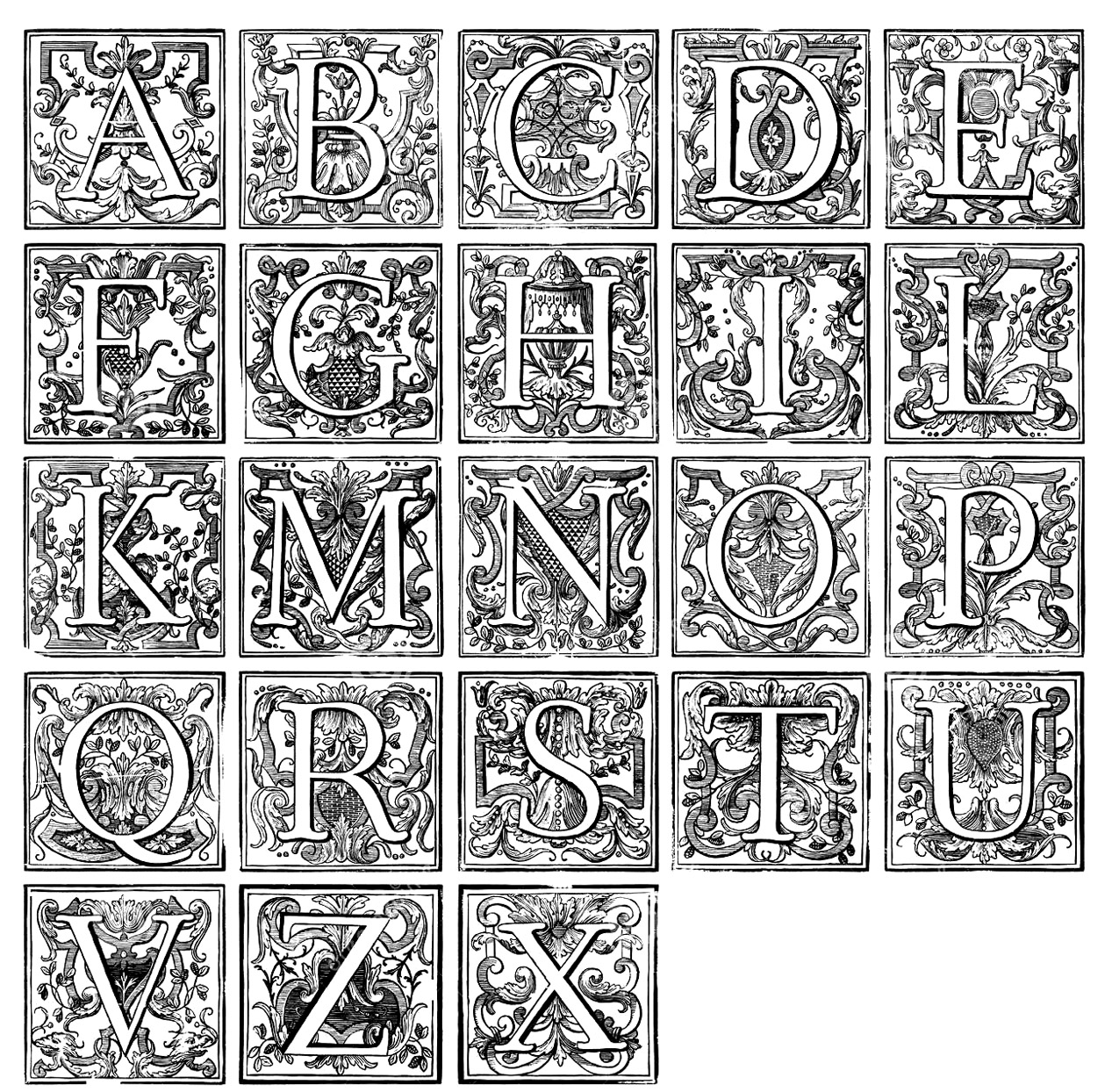 Alphabet Vintage Vintage Adult Coloring Pages