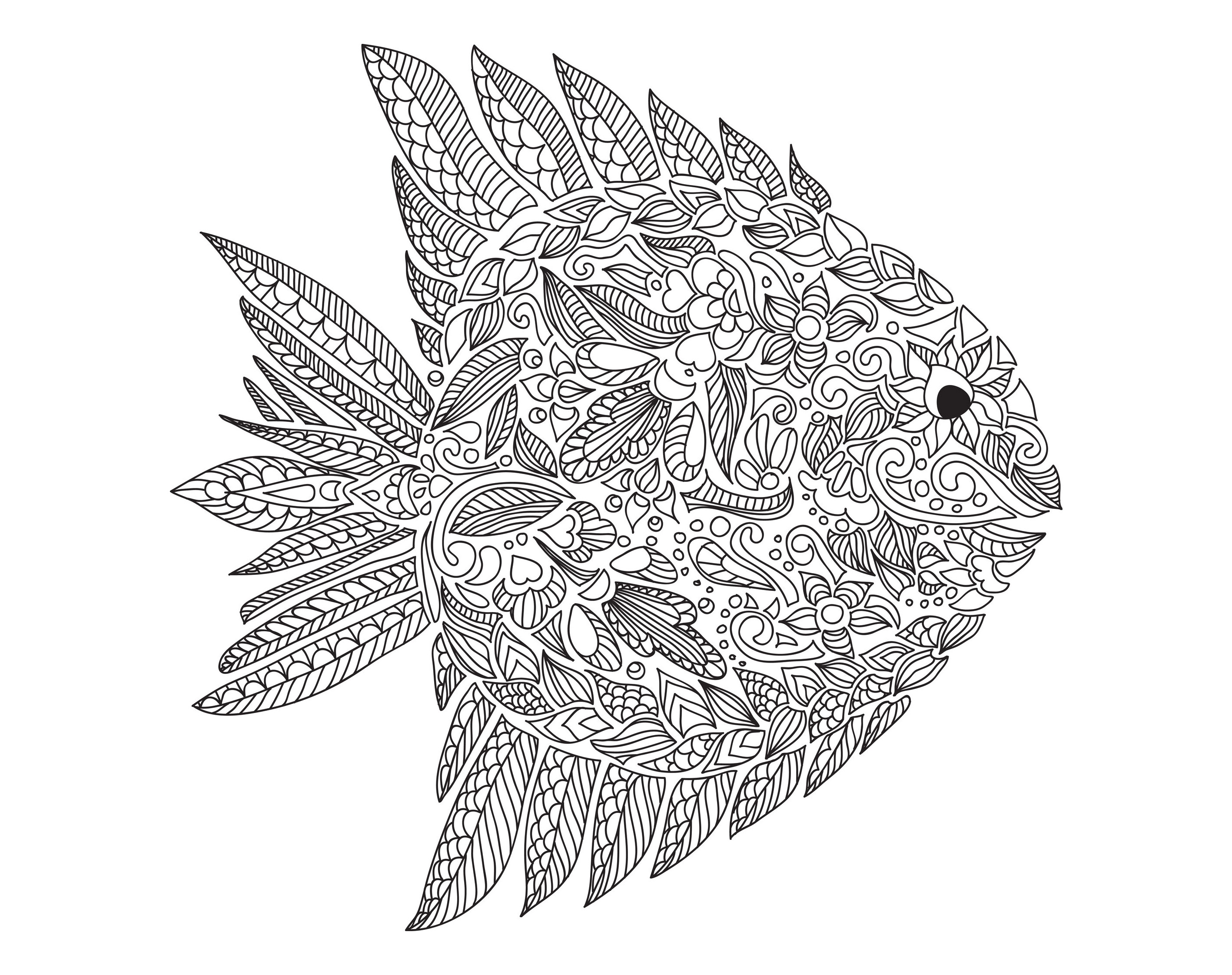 Zentangle Fish By Artnataliia Water Worlds Coloring Pages For